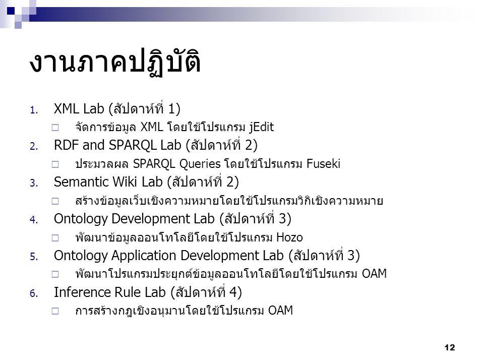 งานภาคปฏิบัติ 1. XML Lab (สัปดาห์ที่ 1)  จัดการข้อมูล XML โดยใช้โปรแกรม jEdit 2.