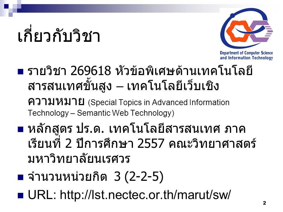 เกี่ยวกับวิชา รายวิชา 269618 หัวข้อพิเศษด้านเทคโนโลยี สารสนเทศขั้นสูง – เทคโนโลยีเว็บเชิง ความหมาย (Special Topics in Advanced Information Technology – Semantic Web Technology) หลักสูตร ปร.