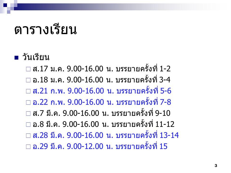 ตารางเรียน วันเรียน  ส.17 ม.ค. 9.00-16.00 น. บรรยายครั้งที่ 1-2  อ.18 ม.ค. 9.00-16.00 น. บรรยายครั้งที่ 3-4  ส.21 ก.พ. 9.00-16.00 น. บรรยายครั้งที่