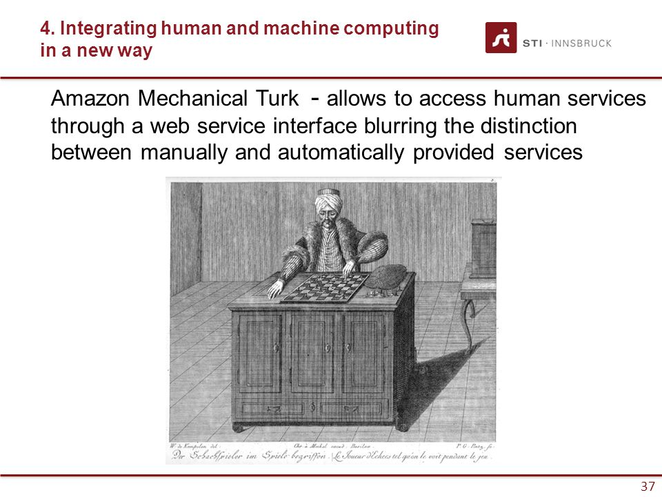 37 4. Integrating human and machine computing in a new way Amazon Mechanical Turk - allows to access human services through a web service interface bl