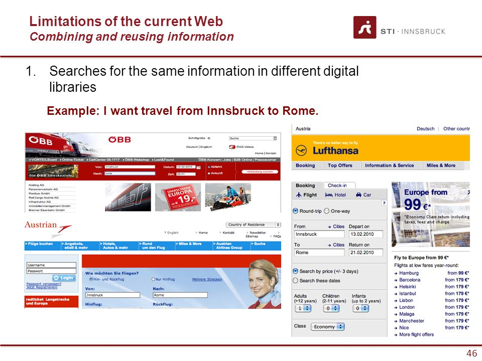 46 Limitations of the current Web Combining and reusing information Example: I want travel from Innsbruck to Rome. 1.Searches for the same information