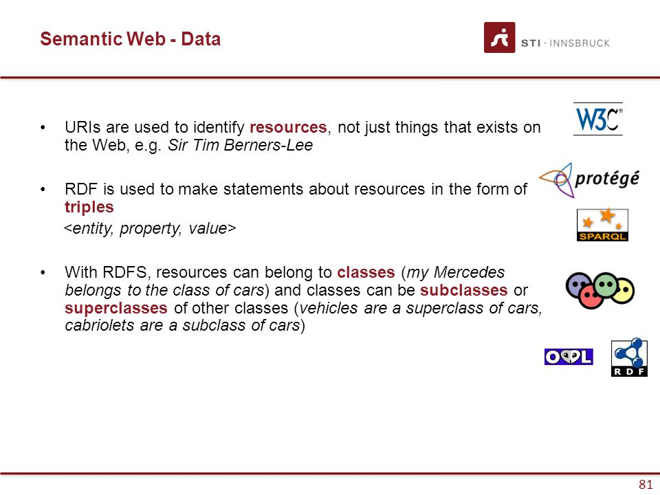 81 Semantic Web - Data URIs are used to identify resources, not just things that exists on the Web, e.g. Sir Tim Berners-Lee RDF is used to make state
