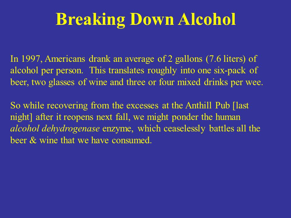 In 1997, Americans drank an average of 2 gallons (7.6 liters) of alcohol per person. This translates roughly into one six-pack of beer, two glasses of