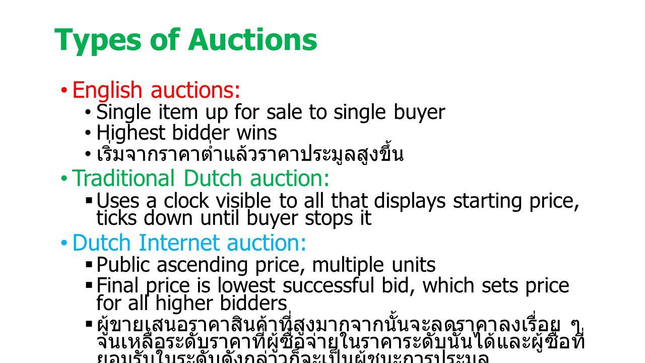 Types of Auctions English auctions: Single item up for sale to single buyer Highest bidder wins เริ่มจากราคาต่ำแล้วราคาประมูลสูงขึ้น Traditional Dutch auction:  Uses a clock visible to all that displays starting price, ticks down until buyer stops it Dutch Internet auction:  Public ascending price, multiple units  Final price is lowest successful bid, which sets price for all higher bidders  ผู้ขายเสนอราคาสินค้าที่สูงมากจากนั้นจะลดราคาลงเรื่อย ๆ จนเหลือระดับราคาที่ผู้ซื้อจ่ายในราคาระดับนั้นได้และผู้ซื่อที่ ยอมรับในระดับดังกล่าวก็จะเป็นผู้ชนะการประมูล
