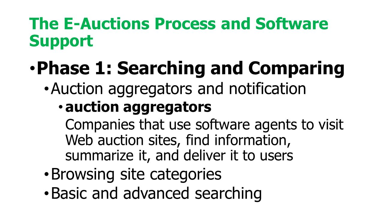Phase 1: Searching and Comparing Auction aggregators and notification auction aggregators Companies that use software agents to visit Web auction sites, find information, summarize it, and deliver it to users Browsing site categories Basic and advanced searching The E-Auctions Process and Software Support