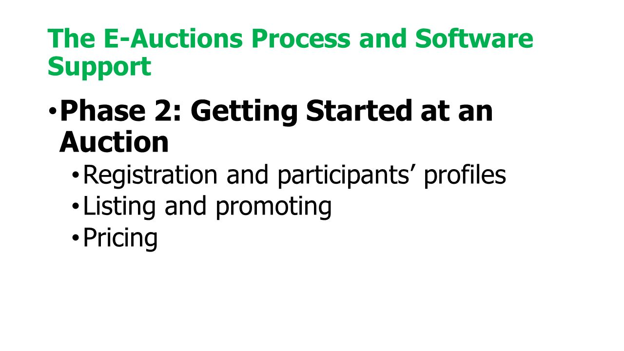 Phase 2: Getting Started at an Auction Registration and participants' profiles Listing and promoting Pricing The E-Auctions Process and Software Support
