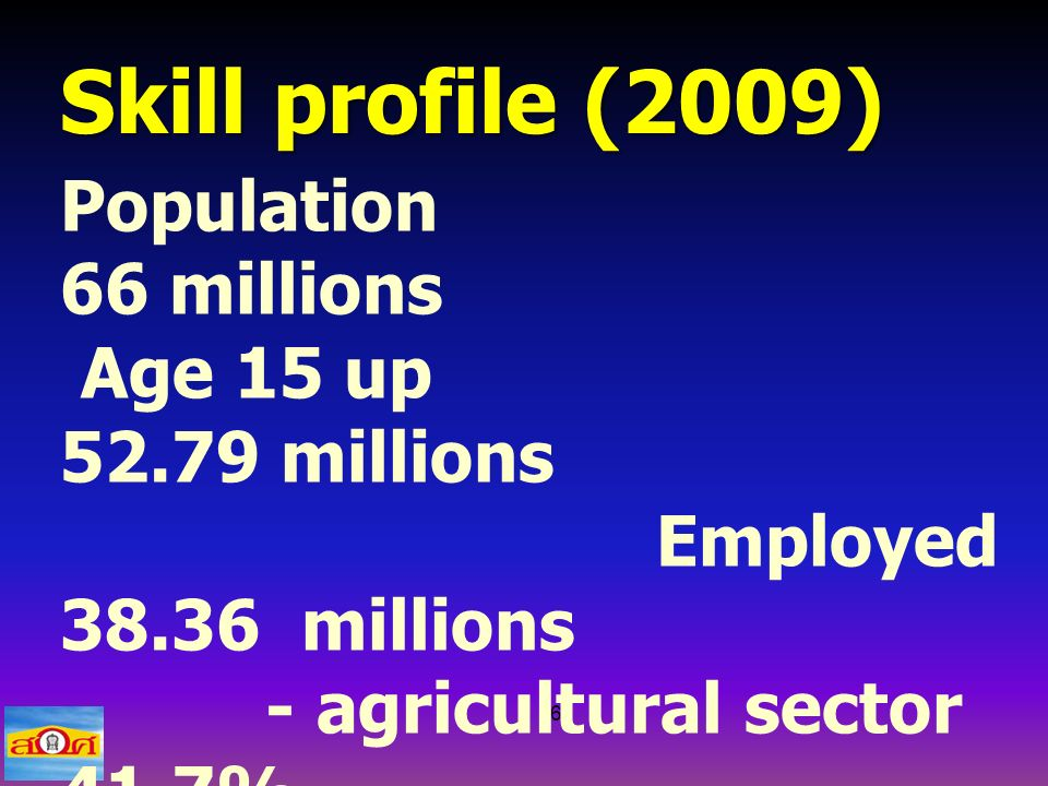 6 Skill profile (2009) Population 66 millions Age 15 up 52.79 millions Employed 38.36 millions - agricultural sector 41.7% - others (service, trade etc) 58.3%