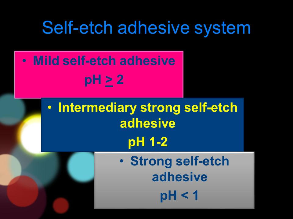 Self-etch adhesive system Mild self-etch adhesive pH > 2 Intermediary strong self-etch adhesive pH 1-2 Strong self-etch adhesive pH < 1 Strong self-etch adhesive pH < 1