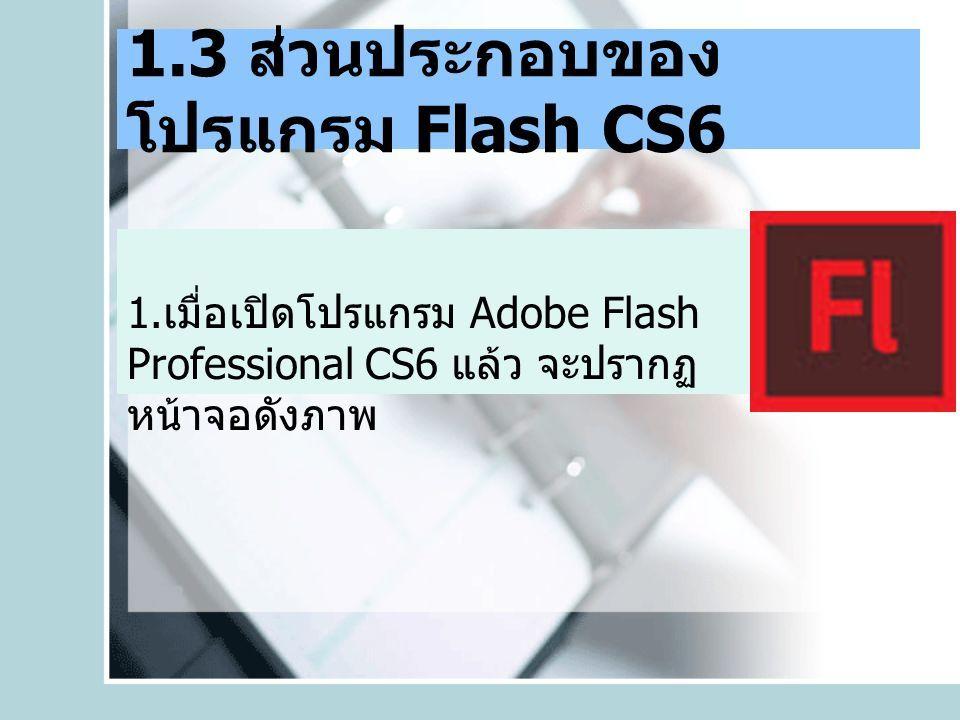1.3 ส่วนประกอบของ โปรแกรม Flash CS6 1.