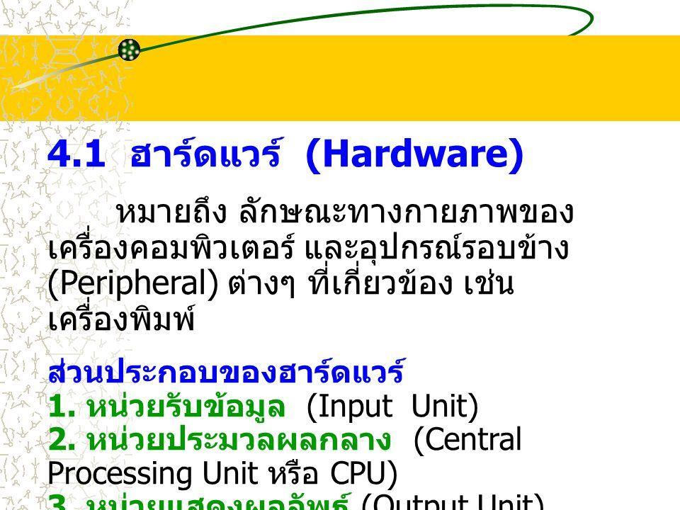 4.1 ฮาร์ดแวร์ (Hardware) หมายถึง ลักษณะทางกายภาพของ เครื่องคอมพิวเตอร์ และอุปกรณ์รอบข้าง (Peripheral) ต่างๆ ที่เกี่ยวข้อง เช่น เครื่องพิมพ์ ส่วนประกอบของฮาร์ดแวร์ 1.