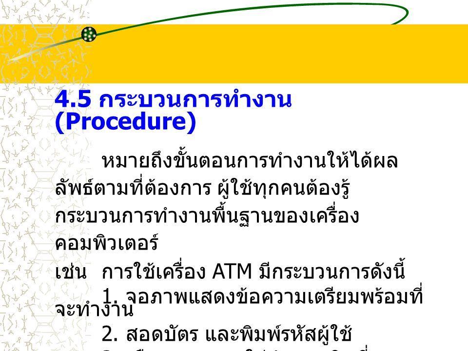 4.5 กระบวนการทำงาน (Procedure) หมายถึงขั้นตอนการทำงานให้ได้ผล ลัพธ์ตามที่ต้องการ ผู้ใช้ทุกคนต้องรู้ กระบวนการทำงานพื้นฐานของเครื่อง คอมพิวเตอร์ เช่นการใช้เครื่อง ATM มีกระบวนการดังนี้ 1.