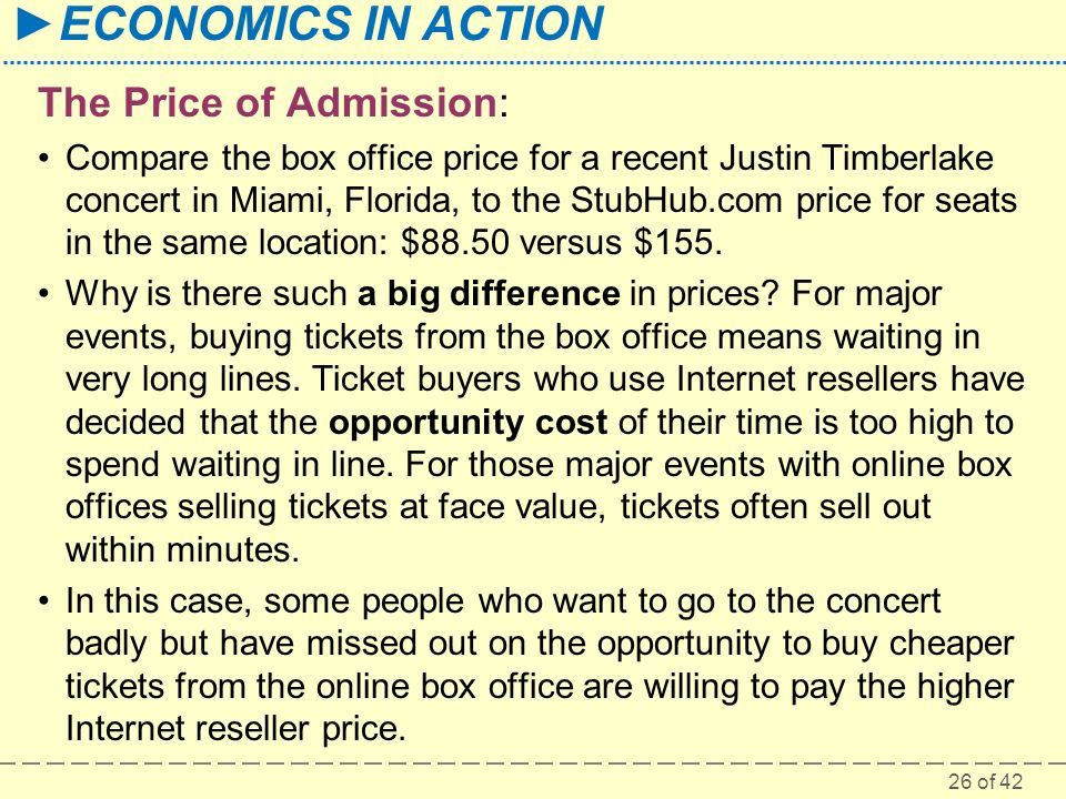 26 of 42 ►ECONOMICS IN ACTION The Price of Admission: Compare the box office price for a recent Justin Timberlake concert in Miami, Florida, to the StubHub.com price for seats in the same location: $88.50 versus $155.
