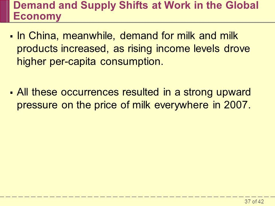 37 of 42  In China, meanwhile, demand for milk and milk products increased, as rising income levels drove higher per-capita consumption.