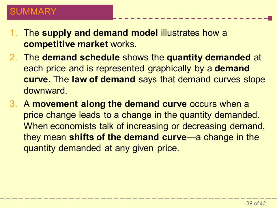 38 of 42 SUMMARY 1.The supply and demand model illustrates how a competitive market works.