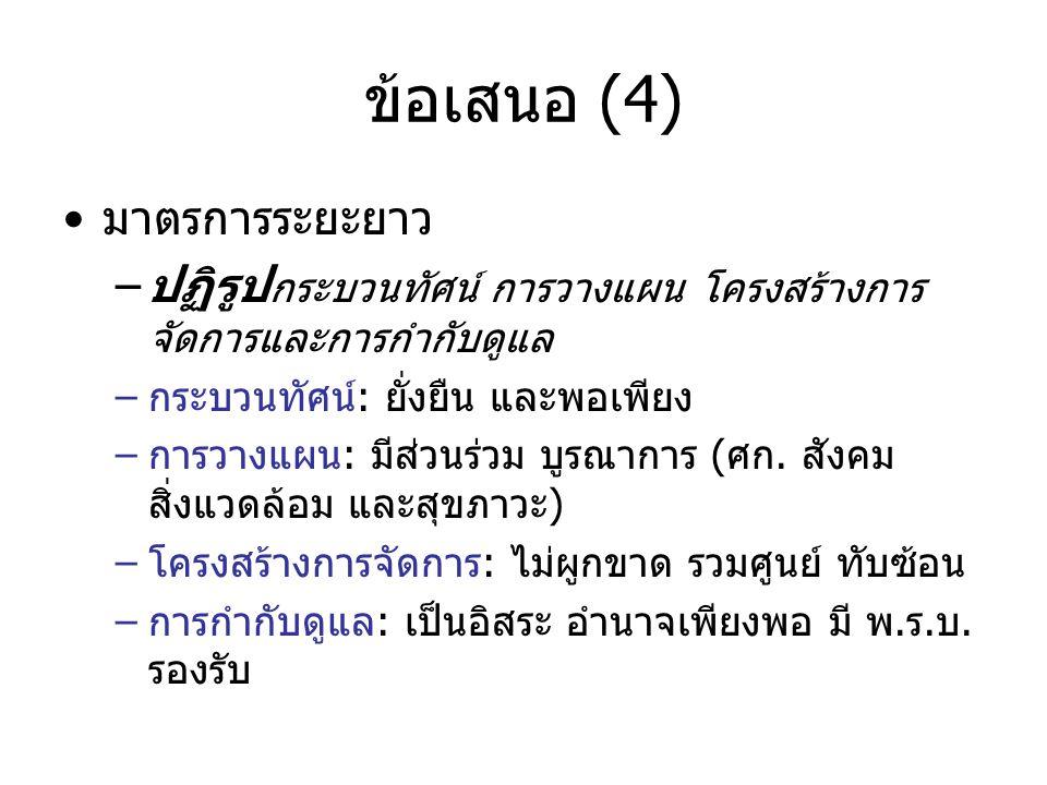 ข้อเสนอ (4) •มาตรการระยะยาว –ปฏิรูป กระบวนทัศน์ การวางแผน โครงสร้างการ จัดการและการกำกับดูแล –กระบวนทัศน์: ยั่งยืน และพอเพียง –การวางแผน: มีส่วนร่วม บ