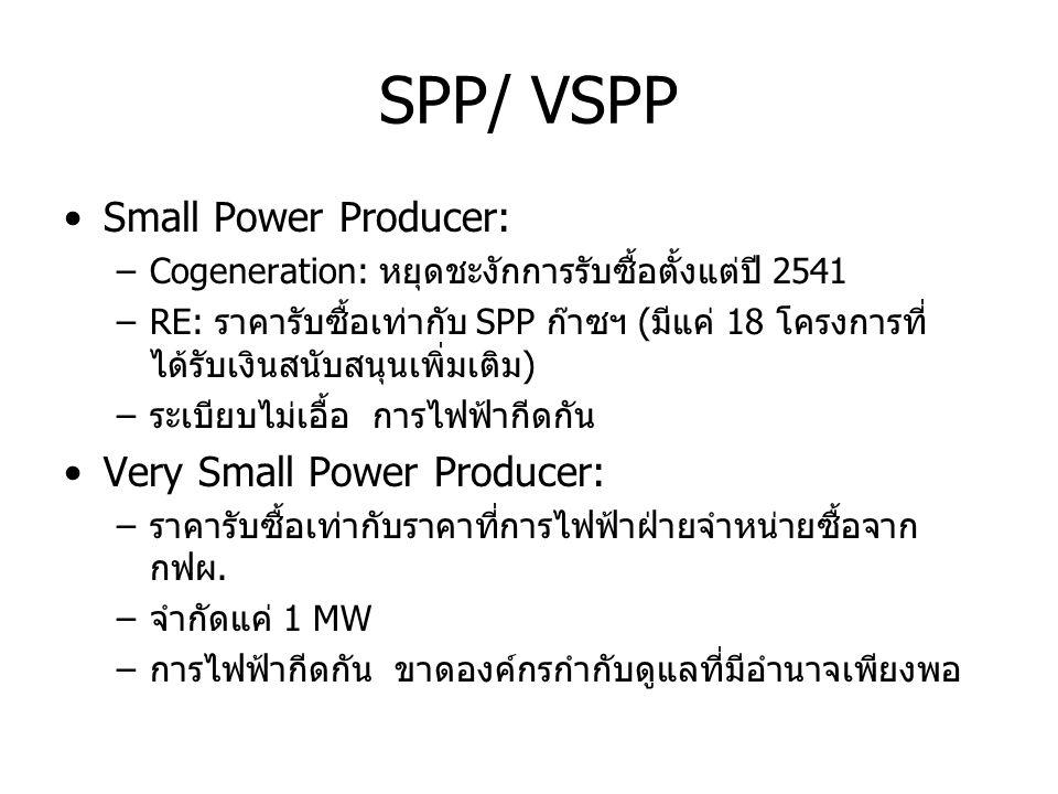 SPP/ VSPP •Small Power Producer: –Cogeneration: หยุดชะงักการรับซื้อตั้งแต่ปี 2541 –RE: ราคารับซื้อเท่ากับ SPP ก๊าซฯ (มีแค่ 18 โครงการที่ ได้รับเงินสนั