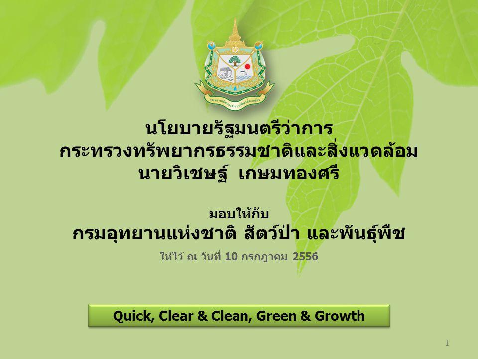 นโยบายรัฐมนตรีว่าการ กระทรวงทรัพยากรธรรมชาติและสิ่งแวดล้อม นายวิเชษฐ์ เกษมทองศรี มอบให้กับ กรมอุทยานแห่งชาติ สัตว์ป่า และพันธุ์พืช ให้ไว้ ณ วันที่ 10 กรกฎาคม 2556 Quick, Clear & Clean, Green & Growth 1