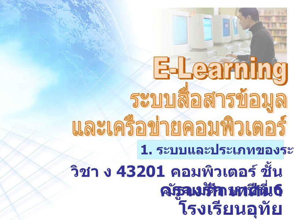 ครูจงรัก เทศนา โรงเรียนอุทัย วิทยาคม วิชา ง 43201 คอมพิวเตอร์ ชั้น มัธยมศึกษาปีที่ 6 1.