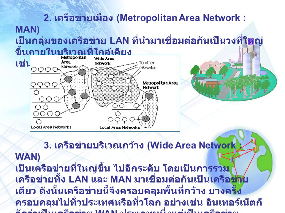 2. เครือข่ายเมือง (Metropolitan Area Network : MAN) เป็นกลุ่มของเครือข่าย LAN ที่นำมาเชื่อมต่อกันเป็นวงที่ใหญ่ ขึ้นภายในบริเวณที่ใกล้เคียง เช่นในเมือง