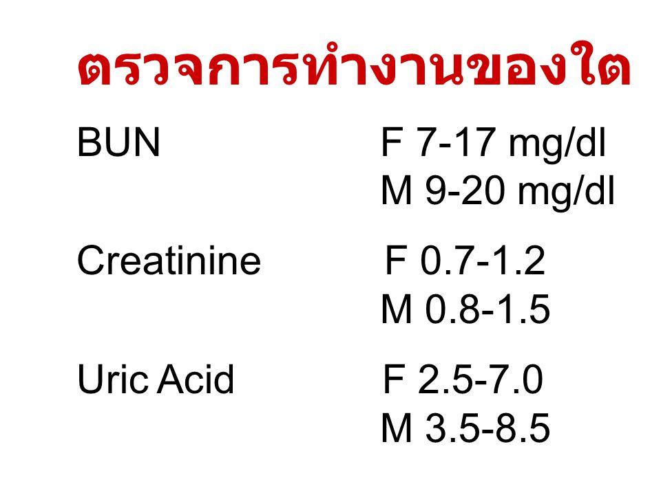 ตรวจการทำงานของใต BUN F 7-17 mg/dl M 9-20 mg/dl Creatinine F 0.7-1.2 M 0.8-1.5 Uric Acid F 2.5-7.0 M 3.5-8.5