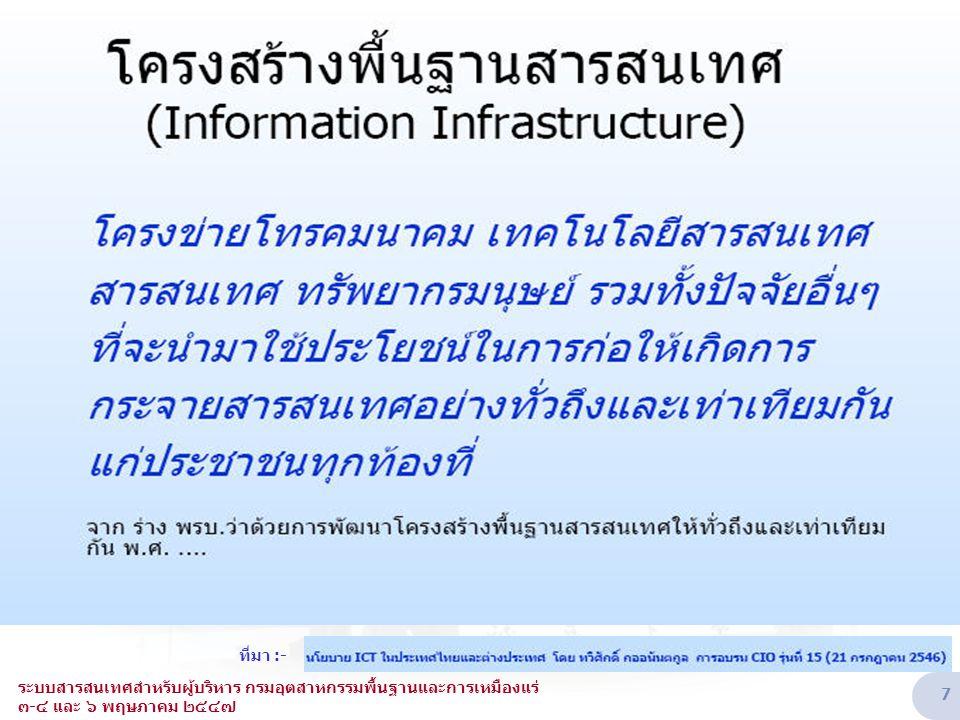 ยุทธศาสตร์ ๑ : การพัฒนาอุตสาหกรรม ICT เพื่อให้เป็นผู้นำในภูมิภาค ยุทธศาสตร์ ๒ : การใช้ ICT เพื่อยกระดับคุณภาพชีวิตของคนไทยและสังคมไทย แผนแม่บทเทคโนโลยีสารสนเทศและการสื่อสาร ของประเทศไทย พ.ศ.