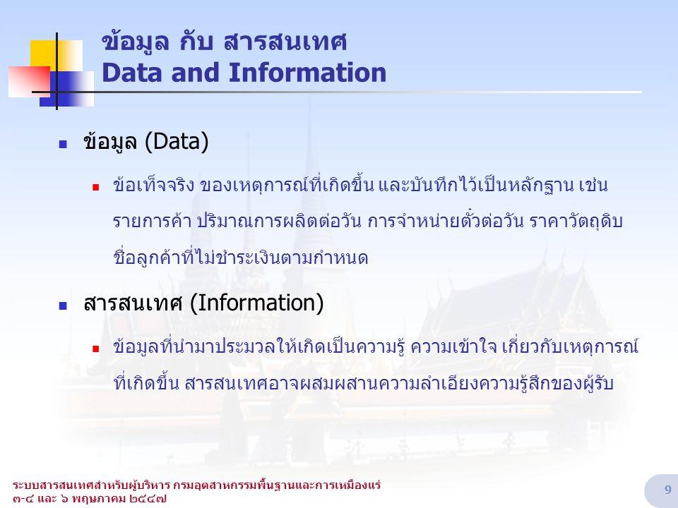 ระบบสารสนเทศสำหรับผู้บริหาร กรมอุตสาหกรรมพื้นฐานและการเหมืองแร่ ๓-๔ และ ๖ พฤษภาคม ๒๕๔๗ 9 ข้อมูล กับ สารสนเทศ Data and Information  ข้อมูล (Data)  ข้
