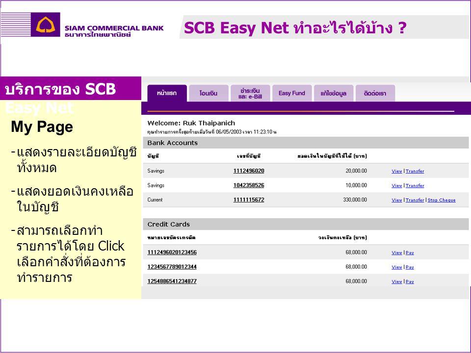 My Page - แสดงรายละเอียดบัญชี ทั้งหมด - แสดงยอดเงินคงเหลือ ในบัญชี - สามารถเลือกทำ รายการได้โดย Click เลือกคำสั่งที่ต้องการ ทำรายการ บริการของ SCB Eas