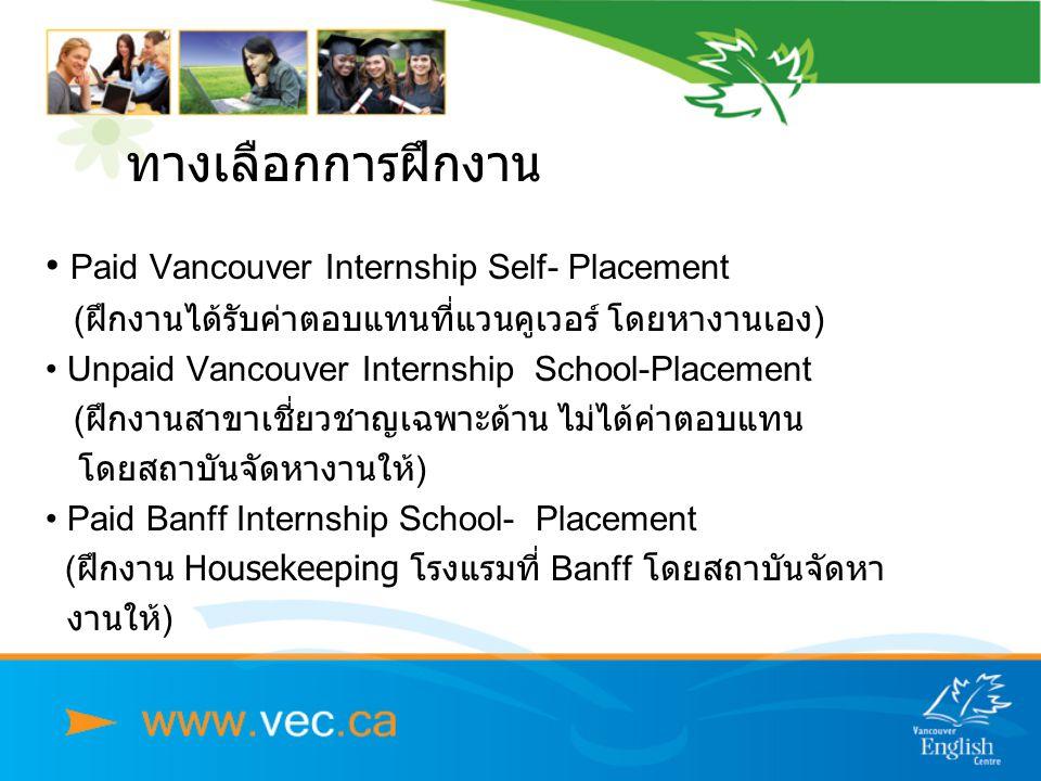 ทางเลือกการฝึกงาน • Paid Vancouver Internship Self- Placement (ฝึกงานได้รับค่าตอบแทนที่แวนคูเวอร์ โดยหางานเอง) • Unpaid Vancouver Internship School-Placement ( ฝึกงานสาขาเชี่ยวชาญเฉพาะด้าน ไม่ได้ค่าตอบแทน โดยสถาบันจัดหางานให้) • Paid Banff Internship School- Placement (ฝึกงาน Housekeeping โรงแรมที่ Banff โดยสถาบันจัดหา งานให้)