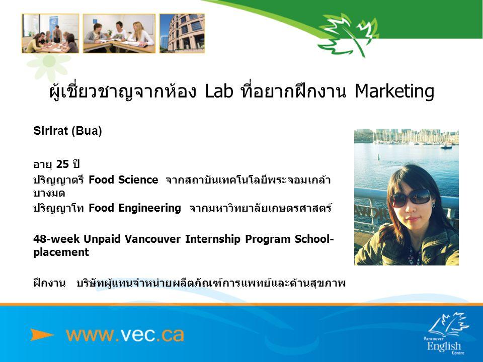 Sirirat (Bua) อายุ 25 ปี ปริญญาตรี Food Science จากสถาบันเทคโนโลยีพระจอมเกล้า บางมด ปริญญาโท Food Engineering จากมหาวิทยาลัยเกษตรศาสตร์ 48-week Unpaid Vancouver Internship Program School- placement ฝึกงาน บริษัทผู้แทนจำหน่ายผลืตภัณฑ์การแพทย์และด้านสุขภาพ ผู้เชี่ยวชาญจากห้อง Lab ที่อยากฝึกงาน Marketing