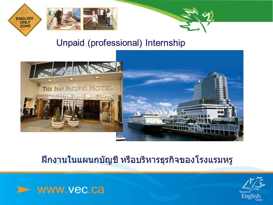 Unpaid (professional) Internship ฝึกงานในแผนกบัญชี หรือบริหารธุรกิจของโรงแรมหรู