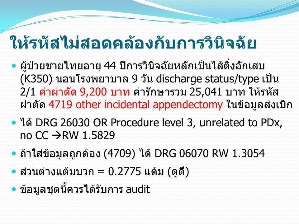 ให้รหัสไม่สอดคล้องกับการวินิจฉัย  ผู้ป่วยชายไทยอายุ 44 ปีการวินิจฉัยหลักเป็นไส้ติ่งอักเสบ (K350) นอนโรงพยาบาล 9 วัน discharge status/type เป็น 2/1 ค่