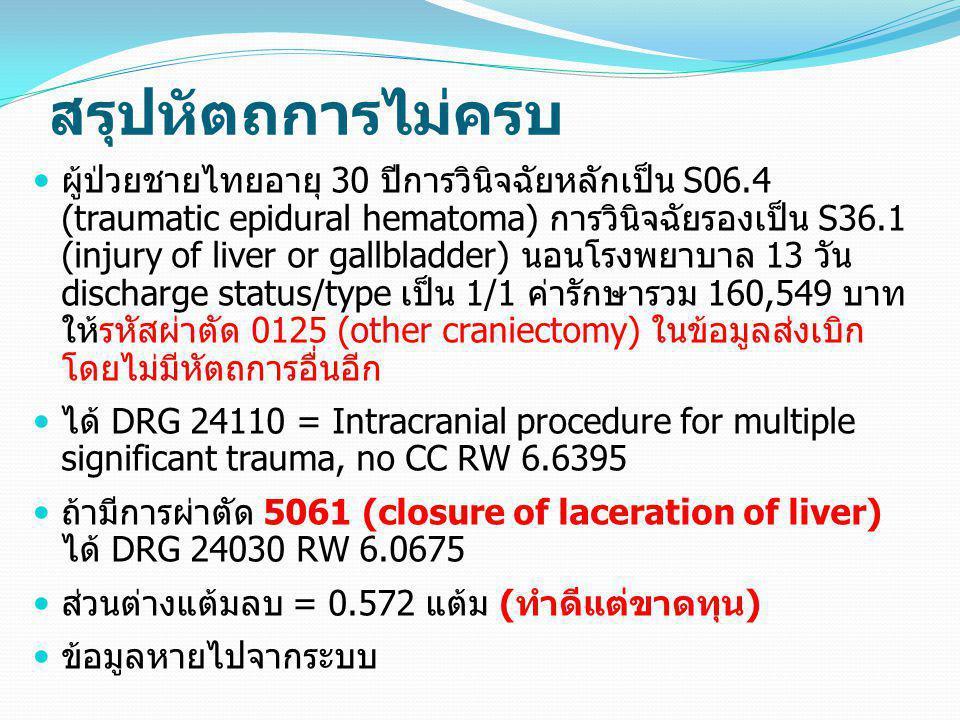 สรุปหัตถการไม่ครบ  ผู้ป่วยชายไทยอายุ 30 ปีการวินิจฉัยหลักเป็น S06.4 (traumatic epidural hematoma) การวินิจฉัยรองเป็น S36.1 (injury of liver or gallbl