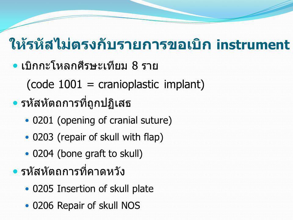 ให้รหัสไม่ตรงกับรายการขอเบิก instrument  เบิกกะโหลกศีรษะเทียม 8 ราย (code 1001 = cranioplastic implant)  รหัสหัตถการที่ถูกปฏิเสธ  0201 (opening of