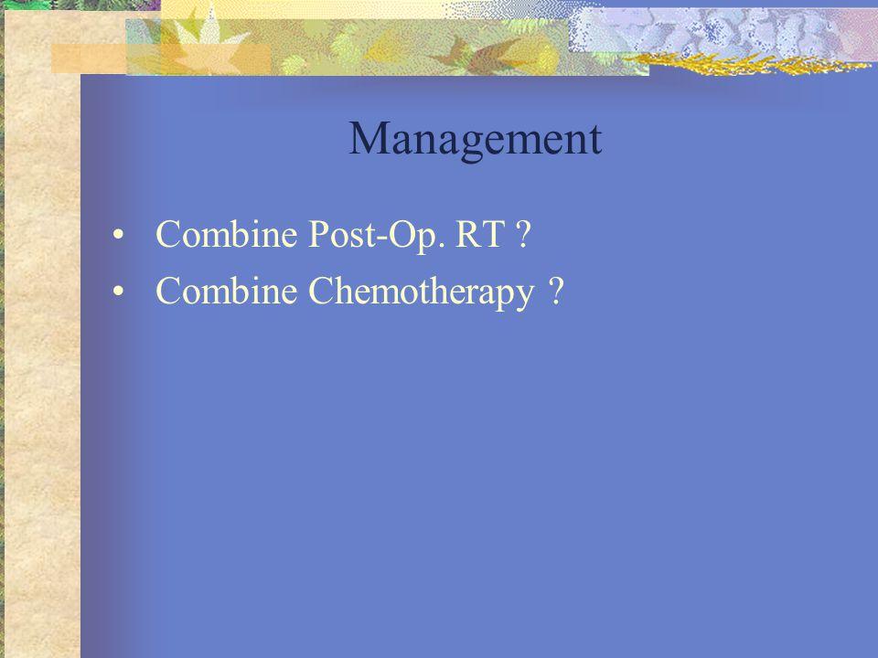 Management •Combine Post-Op. RT ? •Combine Chemotherapy ?