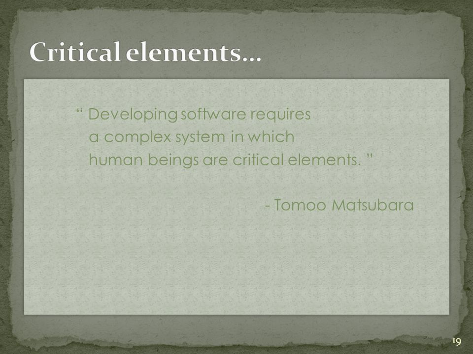 """ Developing software requires a complex system in which human beings are critical elements. "" - Tomoo Matsubara "" Developing software requires a comp"