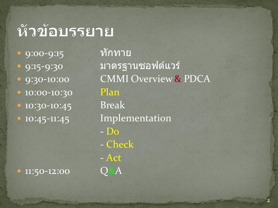  9:00-9:15 ทักทาย  9:15-9:30 มาตรฐานซอฟต์แวร์  9:30-10:00CMMI Overview & PDCA  10:00-10:30Plan  10:30-10:45Break  10:45-11:45Implementation - Do