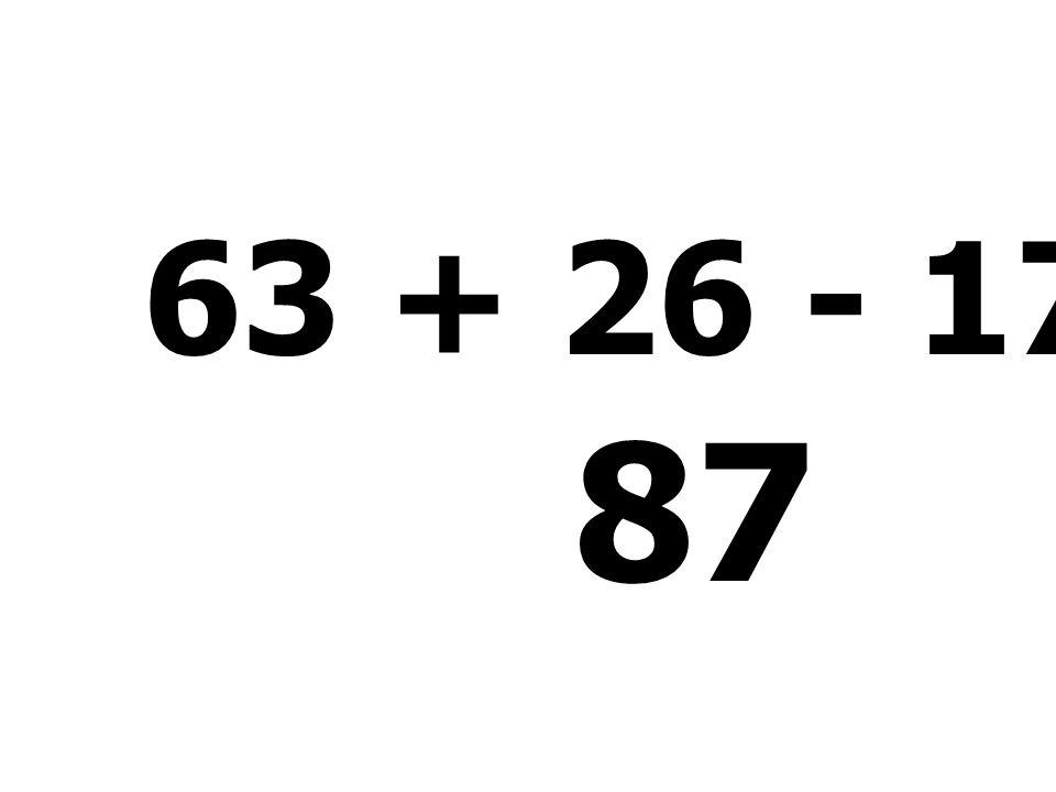 69 - 17 + 36 - 75 = 13