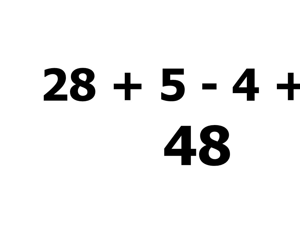 18 + 7 - 6 + 12 = 31