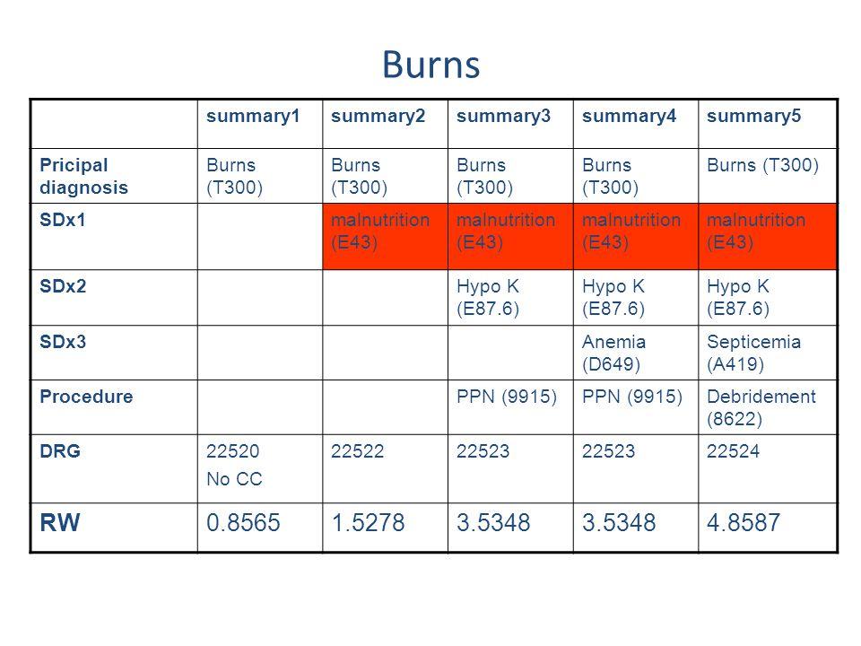summary1summary2summary3summary4summary5 Pricipal diagnosis Burns (T300) SDx1malnutrition (E43) SDx2Hypo K (E87.6) SDx3Anemia (D649) Septicemia (A419)