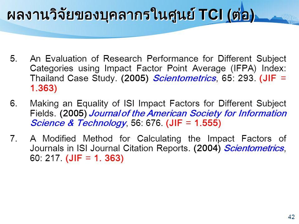 42 ผลงานวิจัยของบุคลากรในศูนย์ TCI ( ต่อ ) 5.An Evaluation of Research Performance for Different Subject Categories using Impact Factor Point Average