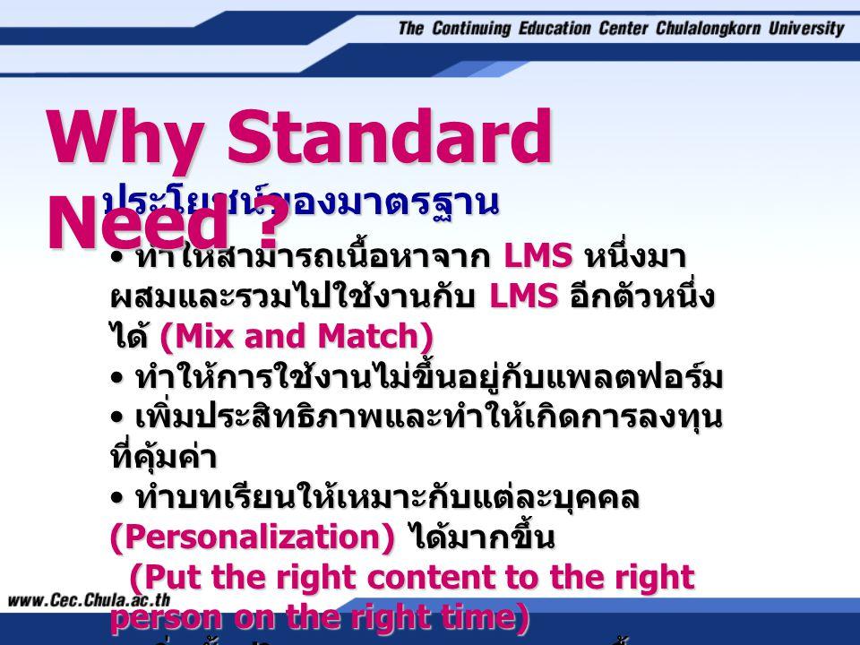 ประโยชน์ของมาตรฐาน • ทำให้สามารถเนื้อหาจาก LMS หนึ่งมา ผสมและรวมไปใช้งานกับ LMS อีกตัวหนึ่ง ได้ (Mix and Match) • ทำให้การใช้งานไม่ขึ้นอยู่กับแพลตฟอร์ม • เพิ่มประสิทธิภาพและทำให้เกิดการลงทุน ที่คุ้มค่า • ทำบทเรียนให้เหมาะกับแต่ละบุคคล (Personalization) ได้มากขึ้น (Put the right content to the right person on the right time) • เพิ่มทั้งปริมาณและคุณภาพของเนื้อหา Why Standard Need ?