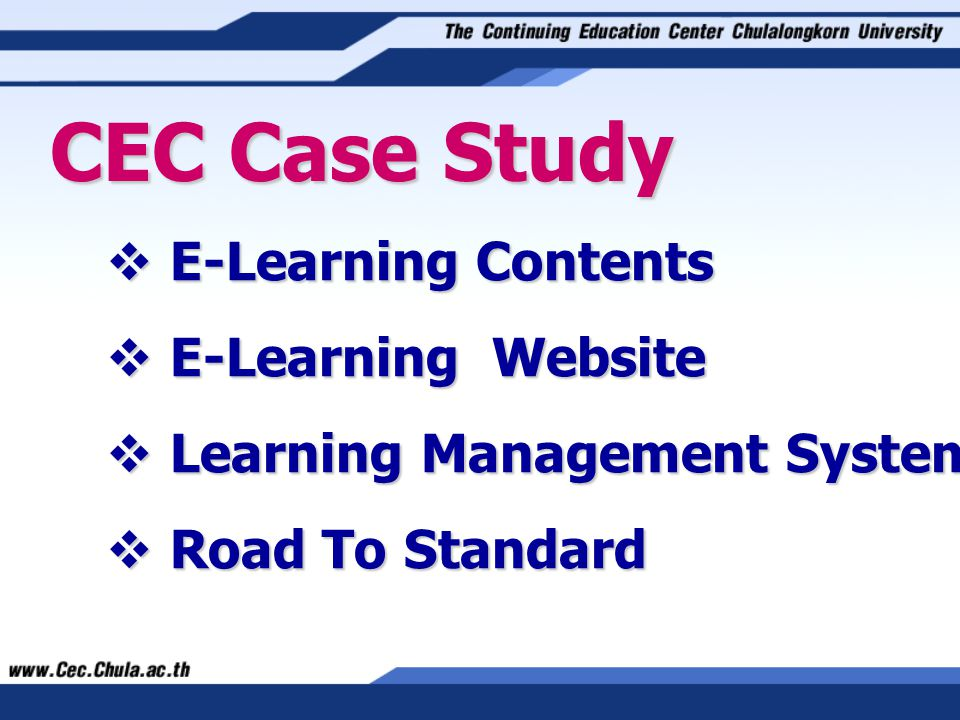  E-Learning Contents CEC Case Study  E-Learning Website  Learning Management System  Road To Standard