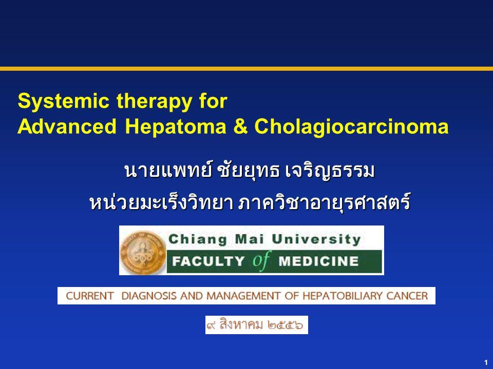 Overall survival : Chemo VS BSC 6 M VS 2.5 M, P <0.01 6 M VS 2.5 M, P=0.05, N=53 : PCA 6.5 M VS 2.5 M, P=0.1, N=37 : CCA Favorable QOL outcome : Chemo VS BSC – 36%VS10%,P <0.01 both sites Quality adjusted survival : Chemo VS BSC –4 M VS 1M,P <0.01 both sites Chemo :FELv, FLv (age >60,PS <70) FELv /FLv