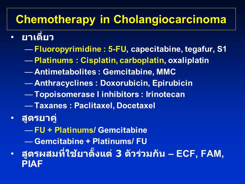 Chemotherapy in Cholangiocarcinoma • ยาเดี่ยว —Fluoropyrimidine : 5-FU, capecitabine, tegafur, S1 —Platinums : Cisplatin, carboplatin, oxaliplatin —An