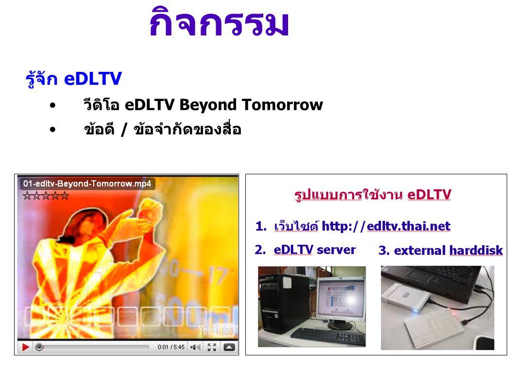 กิจกรรม ค้นหาสื่อ eDLTV •ค้นหาสื่อตามสาระวิชาที่สอน เมื่อค้นหาเสร็จแล้วให้ส่งงาน ใน Ning + สุ่มแสดงความคิดเห็น • สื่อ eDLTV • ใบกิจกรรม • Ning