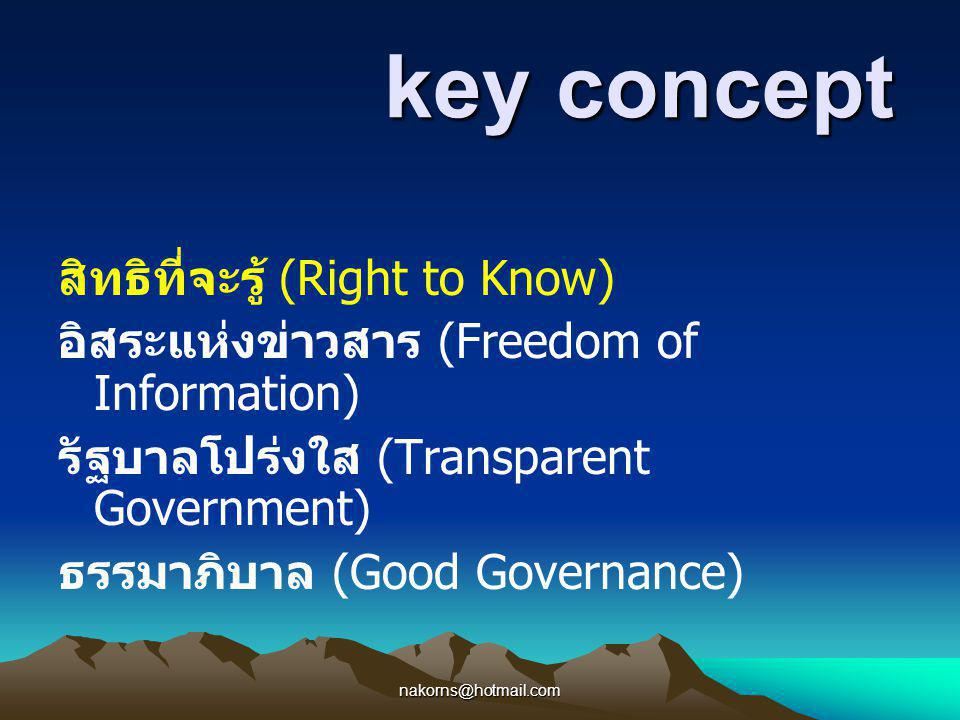 nakorns@hotmail.com key concept key concept สิทธิที่จะรู้ (Right to Know) อิสระแห่งข่าวสาร (Freedom of Information) รัฐบาลโปร่งใส (Transparent Governm
