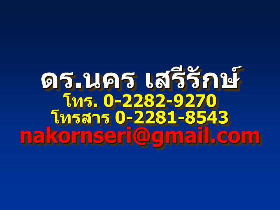 ดร.นคร เสรีรักษ์ โทร. 0-2282-9270 โทรสาร 0-2281-8543 nakornseri@gmail.com