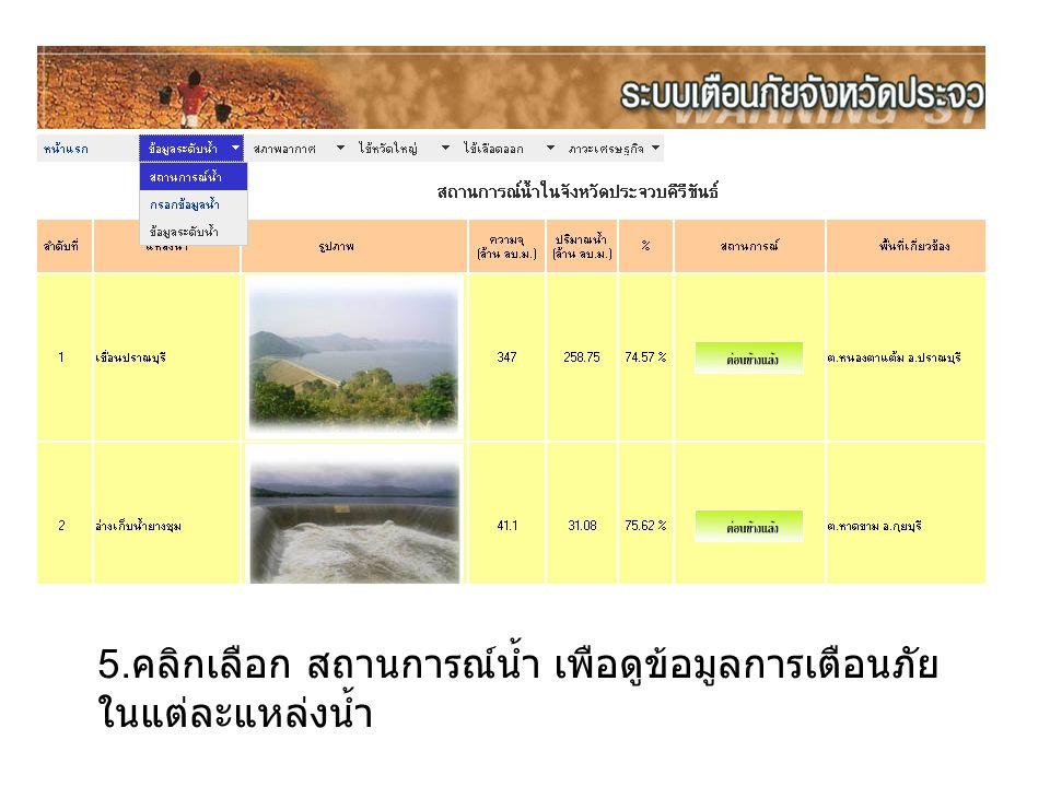 5. คลิกเลือก สถานการณ์น้ำ เพือดูข้อมูลการเตือนภัย ในแต่ละแหล่งน้ำ
