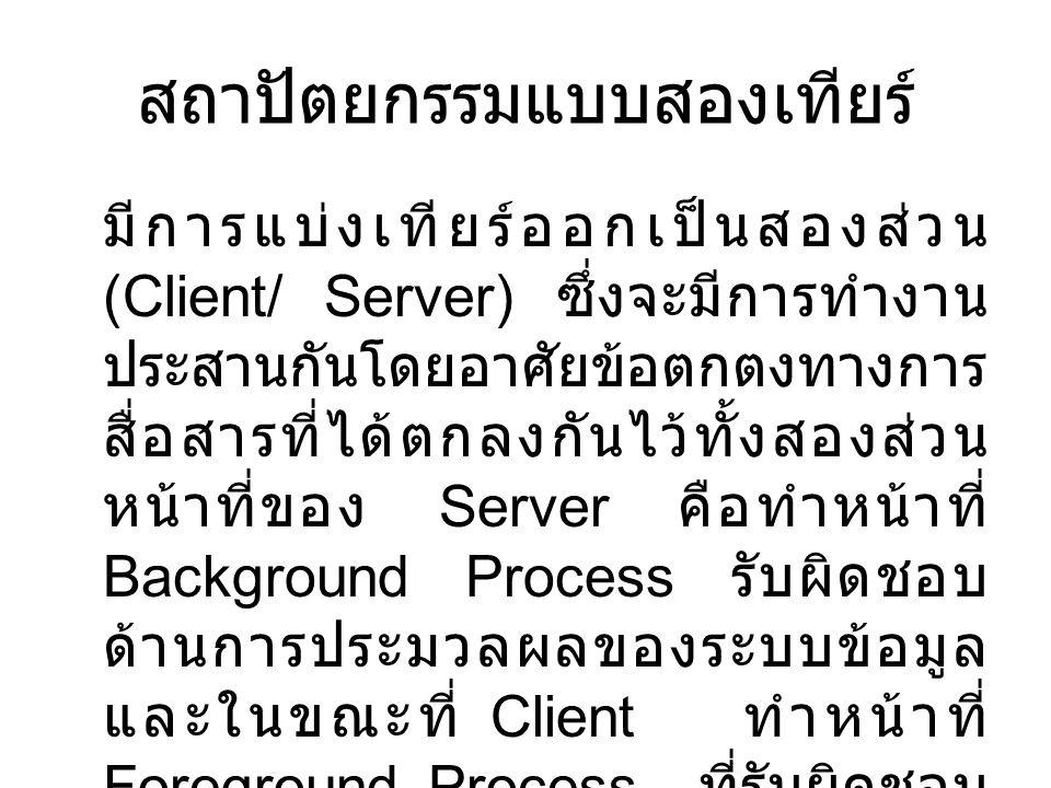 สถาปัตยกรรมแบบสองเทียร์ มีการแบ่งเทียร์ออกเป็นสองส่วน (Client/ Server) ซึ่งจะมีการทำงาน ประสานกันโดยอาศัยข้อตกตงทางการ สื่อสารที่ได้ตกลงกันไว้ทั้งสองส