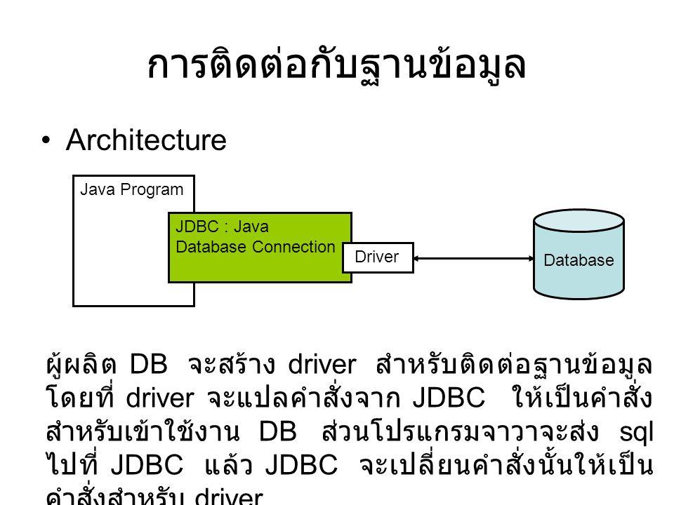 การติดต่อกับฐานข้อมูล •Architecture Java Program JDBC : Java Database Connection Driver Database ผู้ผลิต DB จะสร้าง driver สำหรับติดต่อฐานข้อมูล โดยที